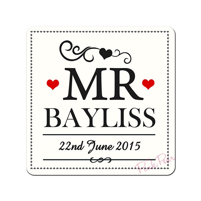 Personalised Mr & Mr Coaster Set of 2