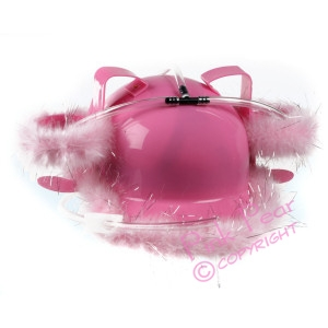 drinkers pink hard hat with fur trim