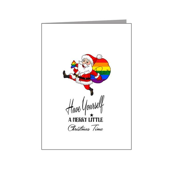 santa with rainbow sack - pride xmas