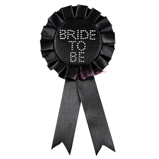 black bride to be diamante rosette