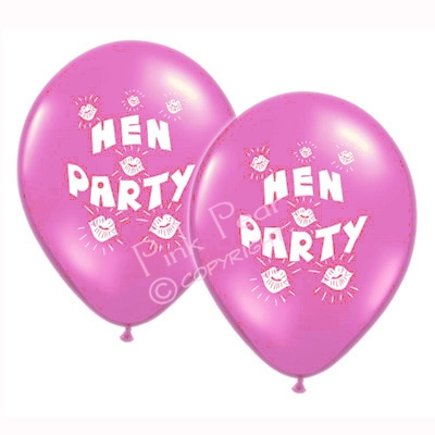 hen party balloons - pink