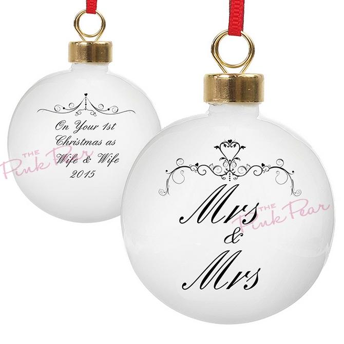 personalised ornate swirl wedding bauble - mrs & mrs