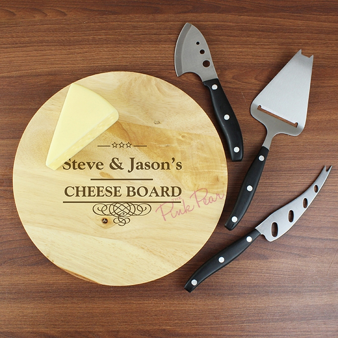 personalised decorative swirl cheeseboard with 3 cheese knives
