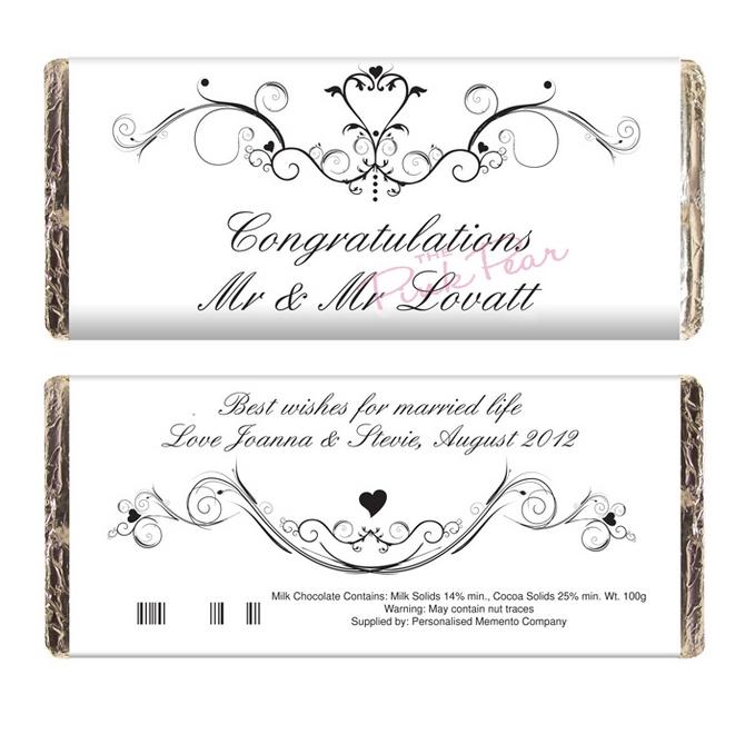 personalised ornate swirl milk chocolate bar - mr & mr