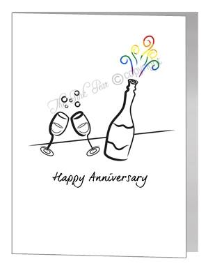 anniversary card - wine bottle & glasses