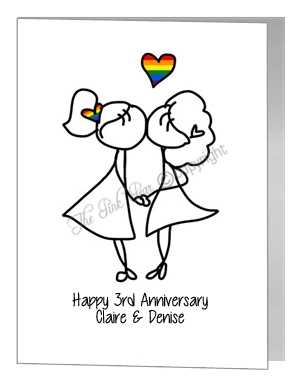 anniversary card - females kissing