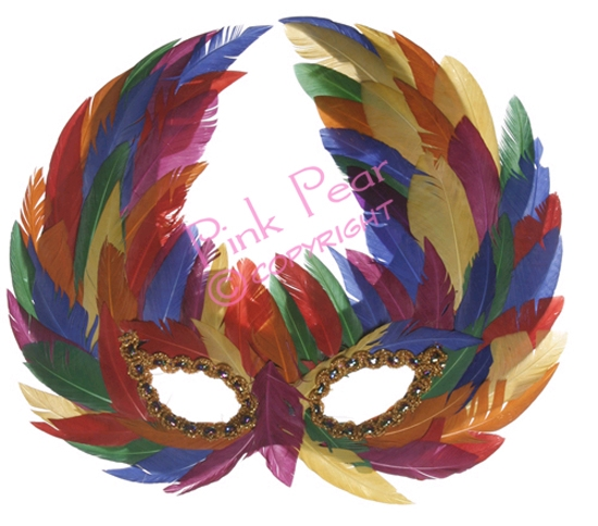 gay pride feather mask