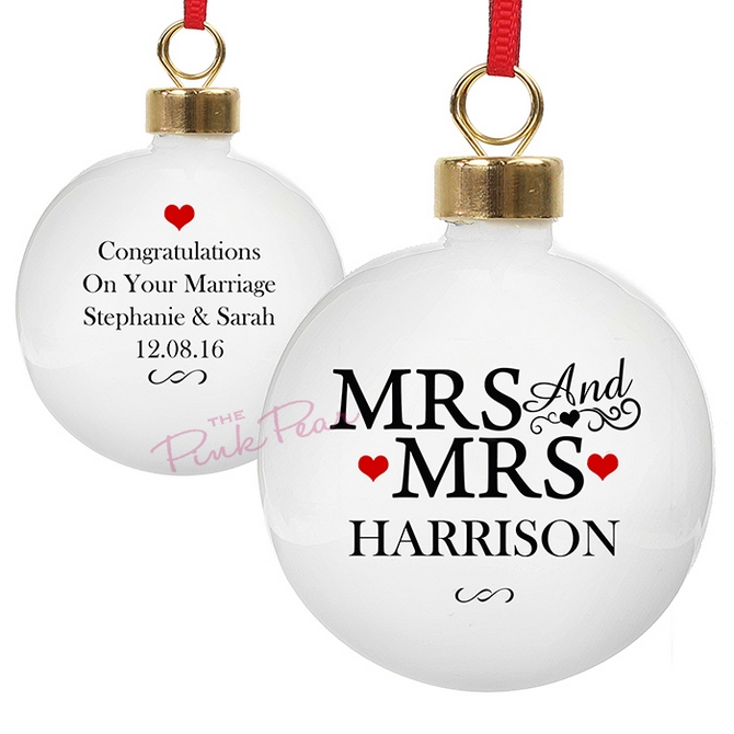 personalised wedding bauble with hearts - mrs & mrs
