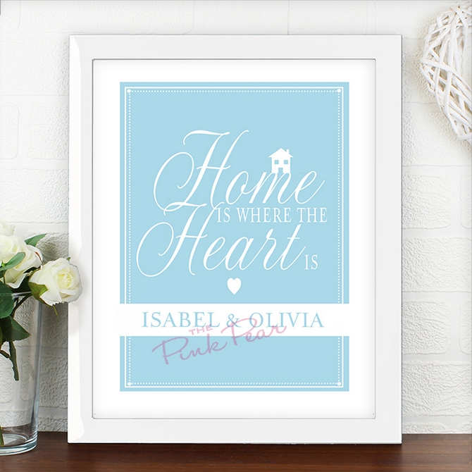 personalised wedding typographic art poster home is where... white frame