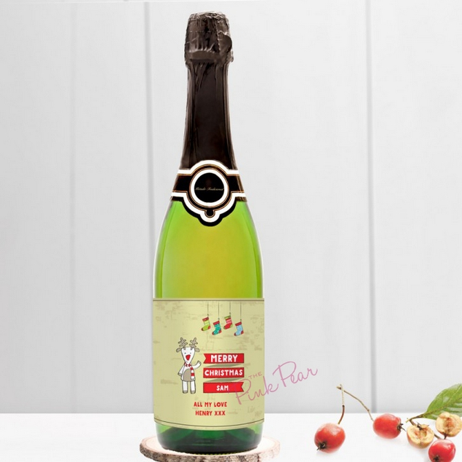 personalised christmas cava - cartoon reindeer
