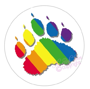 super size rainbow bear paw button badge