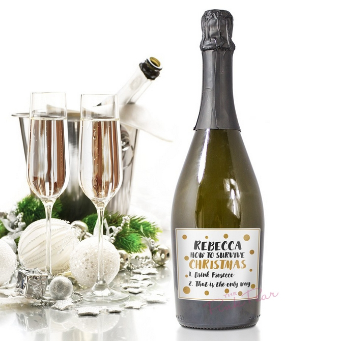 how to survive christmas personalised prosecco
