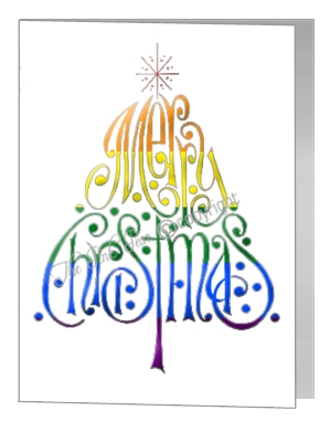 rainbow merry christmas wording tree - pride xmas