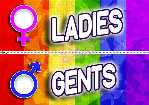 pride party toilet signs