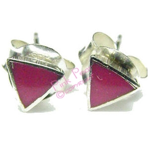 pink triangle stud earrings