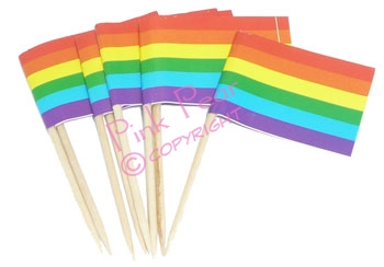 10 rainbow cocktail stick flags
