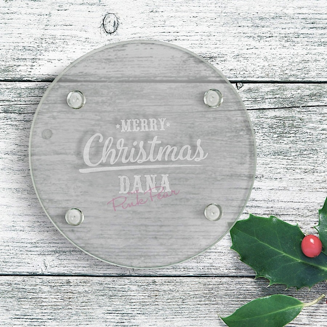 merry christmas engraved round glass coaster