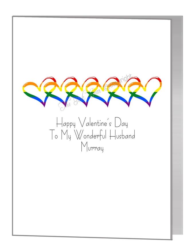 valentine card - interlinked rainbow hearts