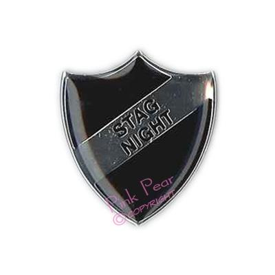 black stag party retro enamel school badge - stag night