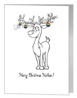 rainbow reindeer with baubles - pride xmas