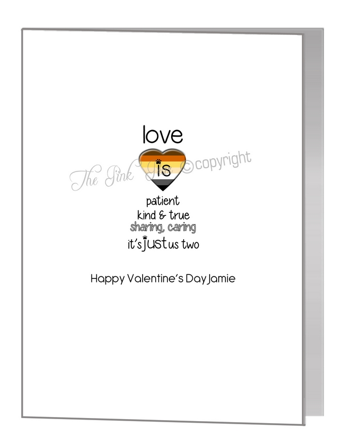 valentine card - love quote & bear pride heart