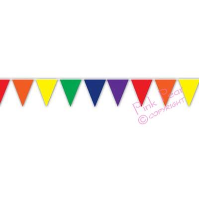 solid rainbow pennant banner