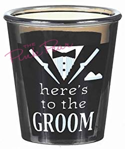 here's to the groom shot glass