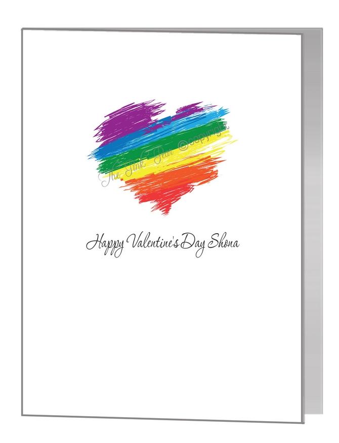 valentine card - crayon rainbow heart