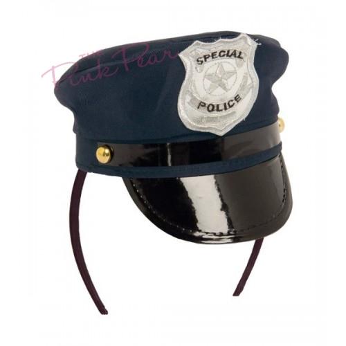 blue police hat headband