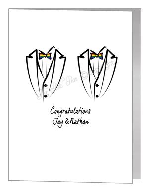 rainbow bowtie tux card