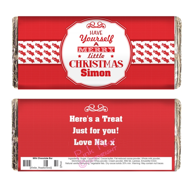 personalised have yourself a merry little Christmas chocolate