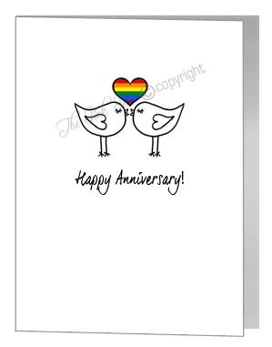 anniversary card - kissing lovebirds