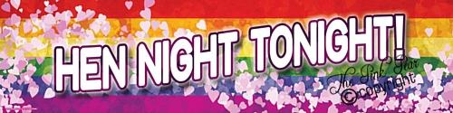 giant rainbow pride 'hen night tonight' banner
