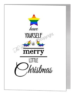 rainbow merry little christmas wording tree - pride xmas