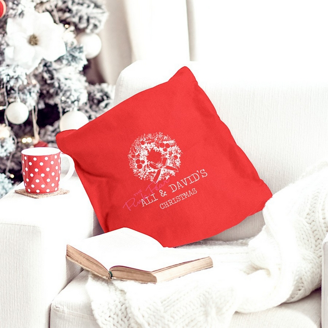 personalised red cotton cushion cover for couples