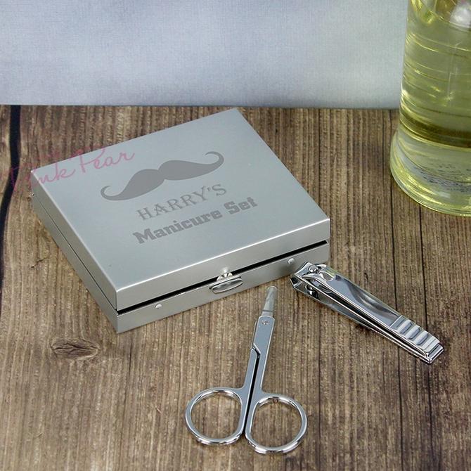 personalised moustache manicure set
