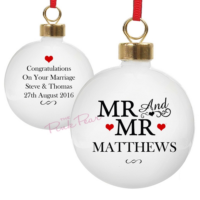 personalised wedding bauble with hearts - mr & mr