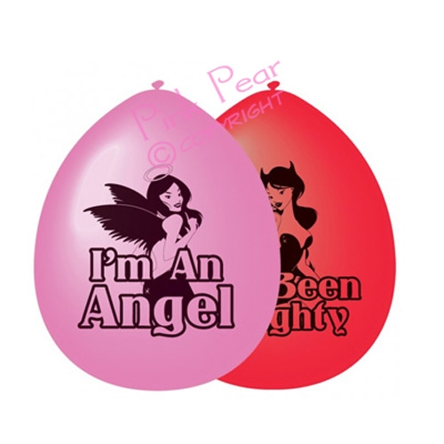 angel & naughty devil hen night balloons