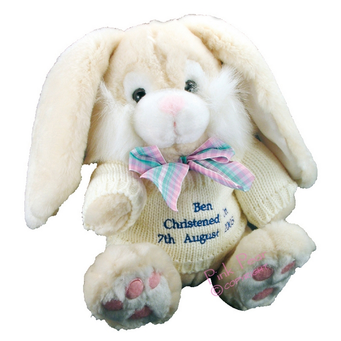 Cream Bunny With Blue Thread