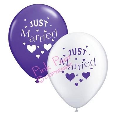 hen party balloons - purple & white