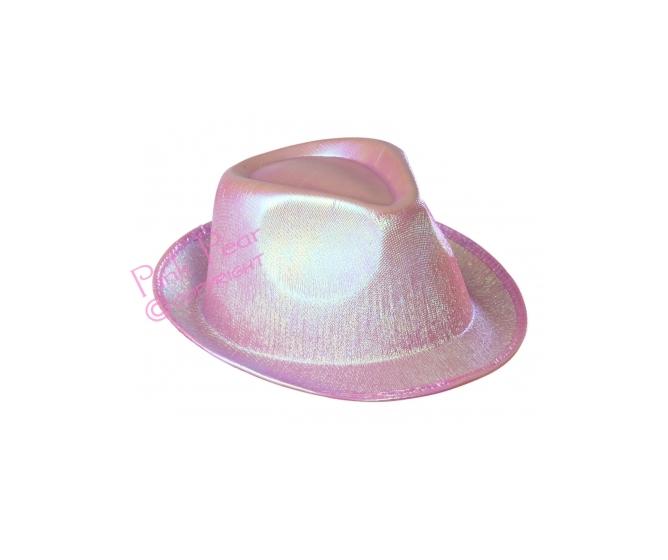 pink pearled fedora hat