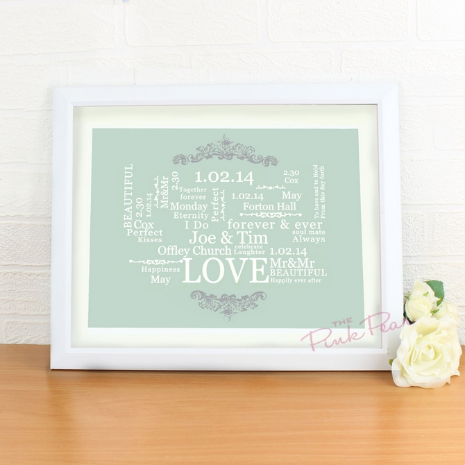 personalised wedding typographic art poster - white frame