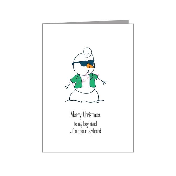 cool boyfriend snowman in shades - pride xmas