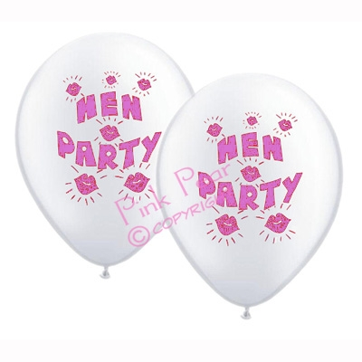 hen party balloons - white with pink design