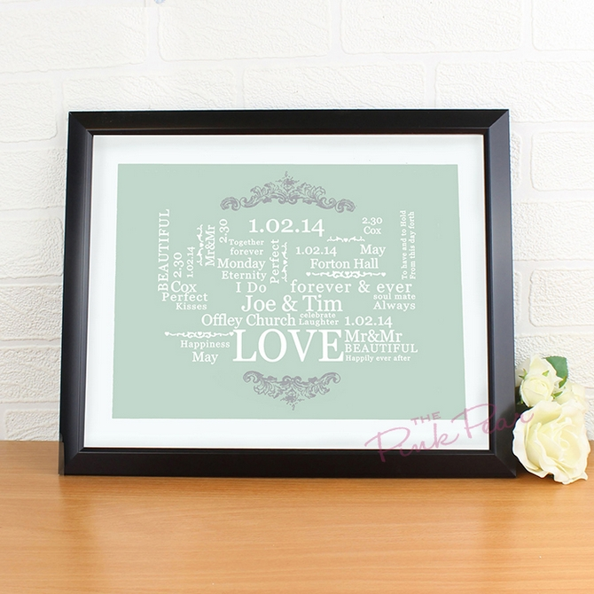 personalised wedding typographic art poster - black frame