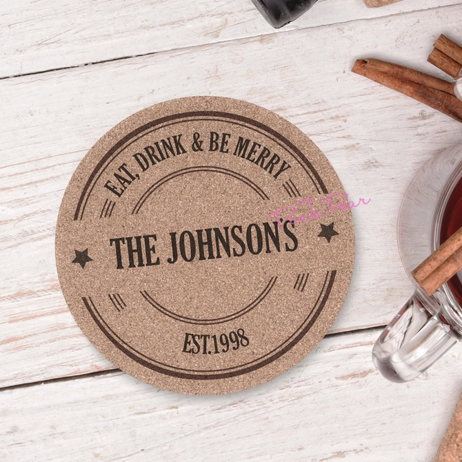 eat, drink and be merry personalised cork coasters