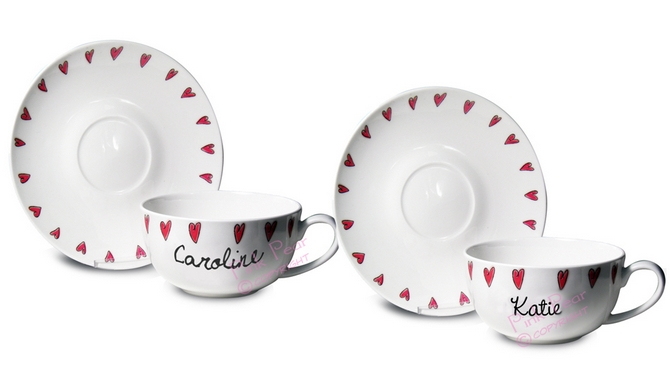 hearts teacup & saucer set (pair)