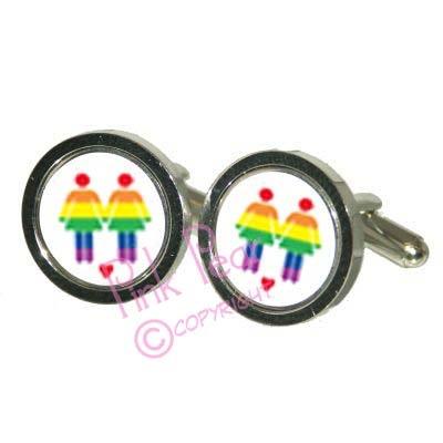 rainbow figure cufflinks - female