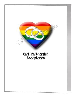 civil partnership acceptance heart & rings card