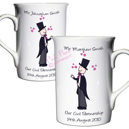 cartoon wedding mug set - mr & mr